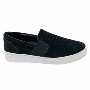 Vionic | Black Suede Kani Lasercut Slip On Shoes